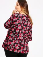 LOVEDROBE BLACK RED FLORAL PRINT WRAP TOP BNWT SIZES 16-26